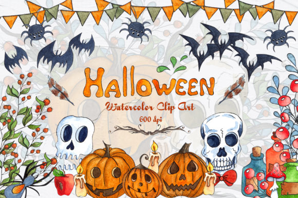 Halloween Watercolor Clipart Graphic Illustrations By BarvArt