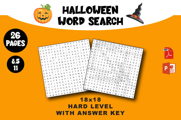Print on Demand: Halloween Word Search Unique Hard Level Graphic KDP Interiors By AZ DESIGNS