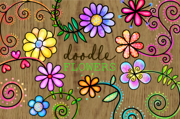 Print on Demand: Hand Drawn Doodle Watercolor Flowers Graphic Illustrations By Prawny