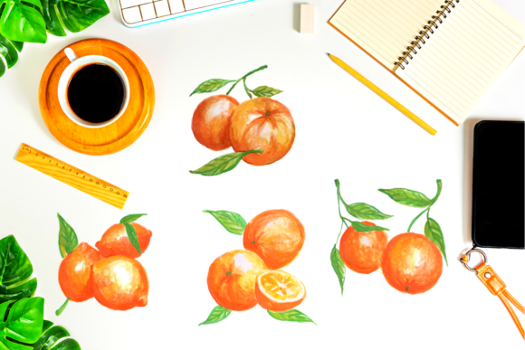Hand Painted Watercolor Little Oranges Graphic Illustrations By Aneta Design