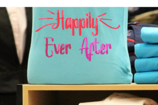 Print on Demand: Happily Ever After Lettering Wedding Quotes Embroidery Design By setiyadissi
