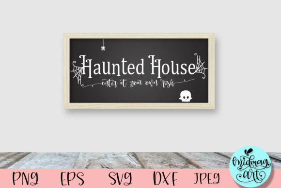Haunted House Wood Sign Graphic Objects By MidmagArt