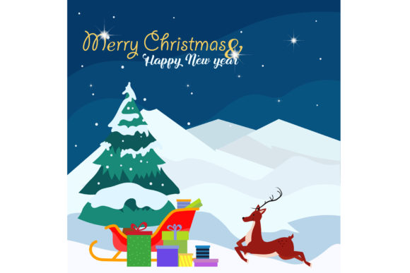 Merry Christmas Background with Reindeer Graphic Illustrations By griyolabs