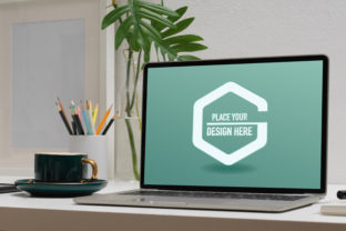 Mock Up Laptop in Comfortable Workspace Graphic Product Mockups By bongkarngraphic