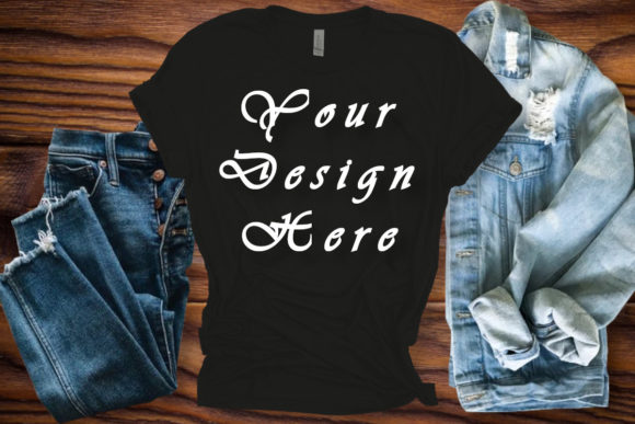 Mockup Bella Canvas Black T-shirt  Graphic Product Mockups By Mockup Shop