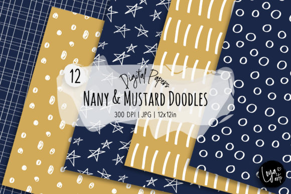 Print on Demand: Navy and Mustard Doodles Digital Paper Graphic Backgrounds By loyaarts