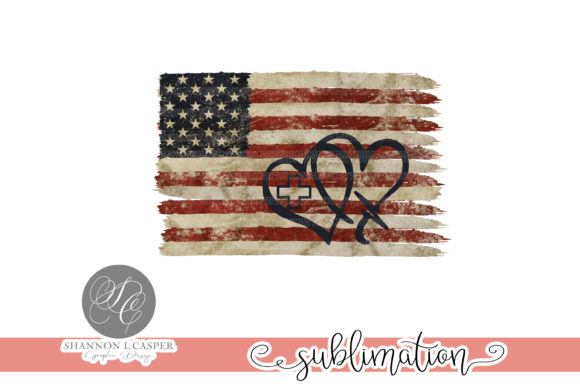 Print on Demand: Nurse Heart on Weathered American Flag Graphic Illustrations By Shannon Casper
