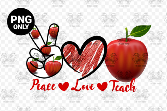 Print on Demand: Peace Love Teach Sublimation Graphic Print Templates By 99 Siam Vector