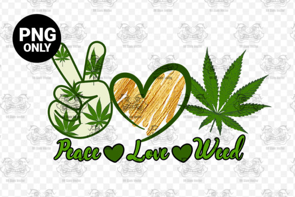 Print on Demand: Peace Love Weed Sublimation Graphic Print Templates By 99 Siam Vector