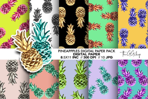 Print on Demand: Pineapple Digital Paper Pack Graphic Crafts By TheGGShop