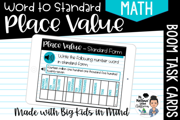 Place Value - Convert Word to Standard Graphic Teaching Materials By Ms. Matthews Littlest Classroom