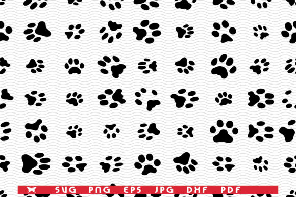 Seamless Pattern with Footprints of Cats Graphic Print Templates By matratko
