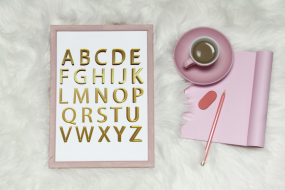 Simple Gold Foil Alphabet, Gold Letters Grafik Illustrationen von Aneta Design