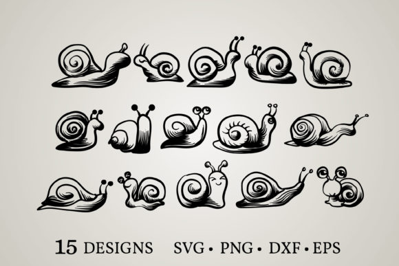 Snail Bundle Graphic Print Templates By Euphoria Design