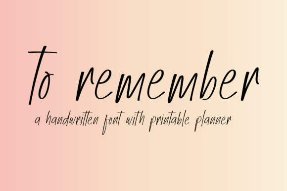 Print on Demand: To Remember Script & Handwritten Font By BitongType