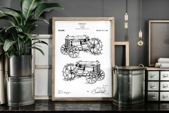 Print on Demand: Tractor 1919 Patent Art Poster Blueprint Graphic Illustrations By Antique Pixls