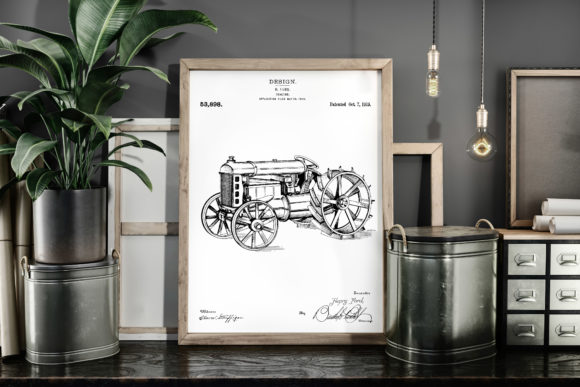 Print on Demand: Tractor 1919 Vintage Patent Art Poster Graphic Illustrations By Antique Pixls