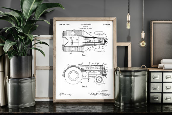 Print on Demand: Tractor 1939 Vintage Patent Art Poster Graphic Illustrations By Antique Pixls
