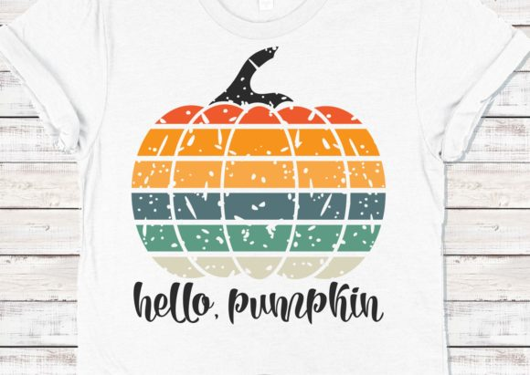 Vintage Grunge Fall Hello Pumpkin Graphic Crafts By mainandmouse