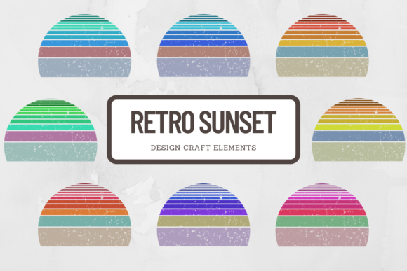 Print on Demand: Vintage Striped Sunset Retro Style Set Graphic Crafts By atlasart