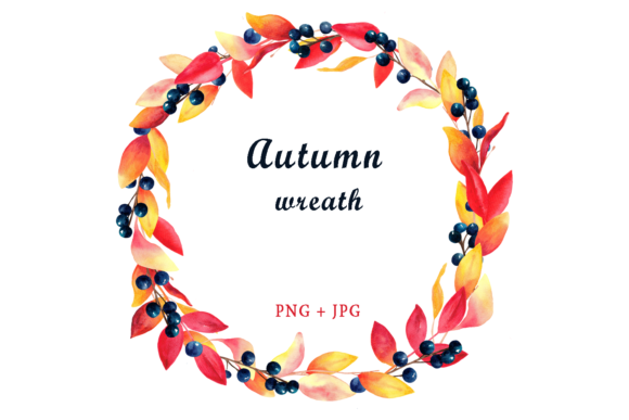 Watercolor Autumn Wreath Clipart Graphic Objects By colours_of_wind