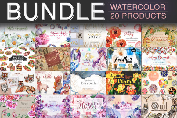 Print on Demand: Watercolor Bundle - 20 in 1  By MyStocks