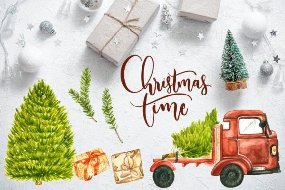 Watercolor Christmas Pick Up Truck Graphic Illustrations By Aneta Design