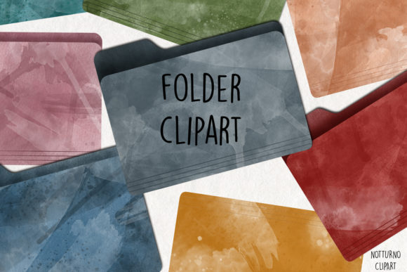 Watercolor Folder Clipart. Set of 15 Graphic Illustrations By NotturnoClipArt