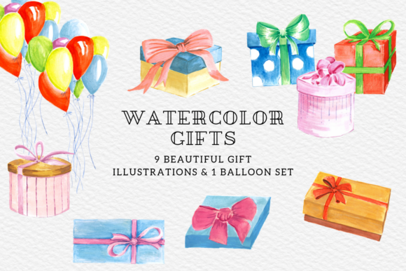Watercolor Gift Boxes Presents Set Graphic Illustrations By Aneta Design