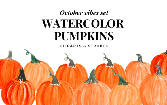 Watercolor Pumpkin Clipart, Orange Pumpk Graphic Illustrations By Aneta Design
