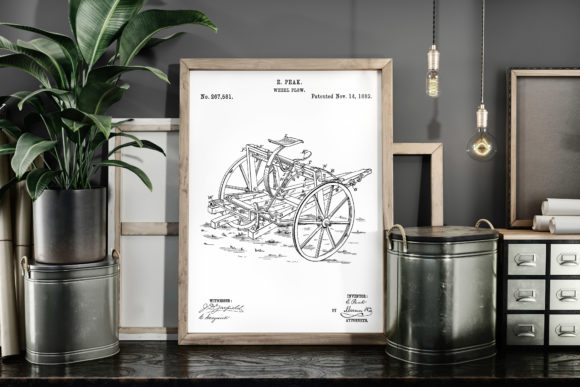 Print on Demand: Wheel Plow 1882 Vintage Patent Poster Graphic Illustrations By Antique Pixls