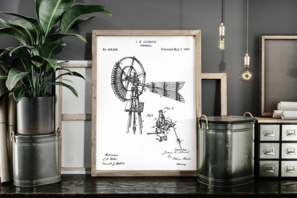 Print on Demand: Windmill Vintage Patent Poster Blueprint Graphic Illustrations By Antique Pixls