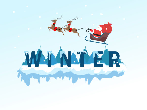 Winter Lettering with Santa Claus Grafik Illustrationen von griyolabs