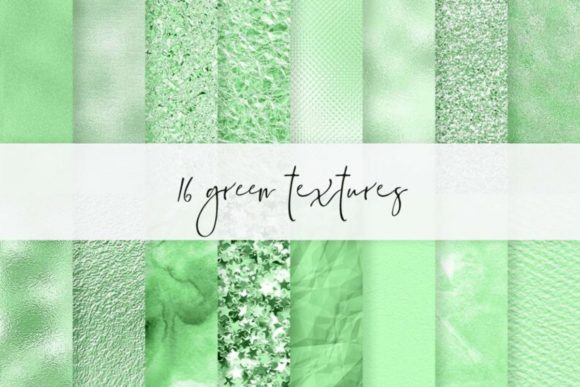 16 Green Foil Papers, Green Emerald Back Graphic Textures By Aneta Design