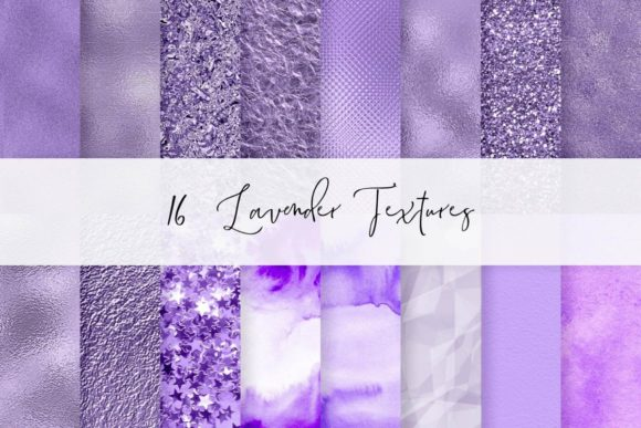 16 Lavender Textures, Foil Papers Set Graphic Textures By Aneta Design