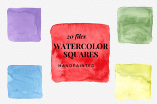 20 Hand-painted Watercolor Squares Graphic Illustrations By Aneta Design