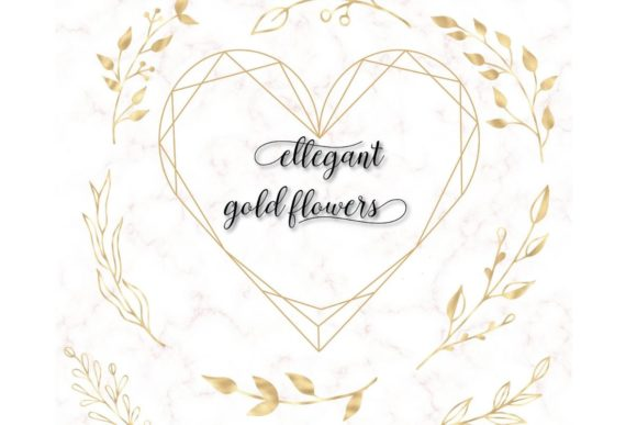 42 Gold Floral Clip Arts, Gold Flowers Graphic Illustrations By Aneta Design