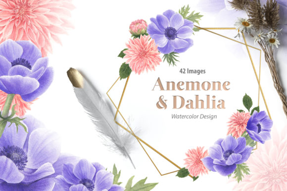Anemone & Dahlia Flowers Watercolor Set Graphic Illustrations By WatercolorEps