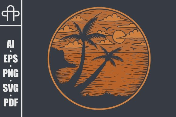 Print on Demand: BEACH VIEWS SUNSET VECTOR ILLUSTRATION Graphic Illustrations By Andypp