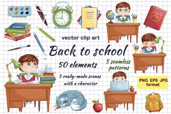 Back to School Vector Elements  Graphic Illustrations By Maycat