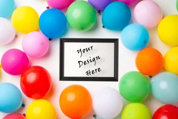 Ballons Frame Mockup, Party, Birthday Graphic Product Mockups By ArtStudio