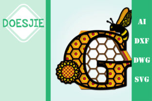 Bee Letter G, Multi Layer Mandala Graphic 3D SVG By doesjie