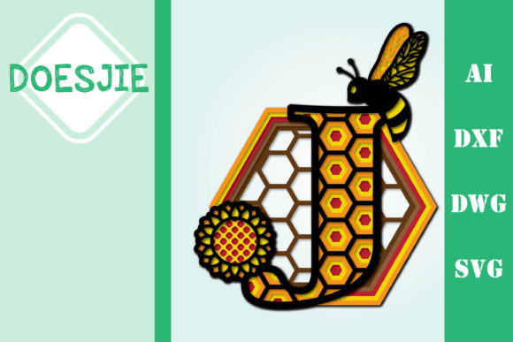 Bee Letter J, Multi Layer Mandala Graphic 3D SVG By doesjie