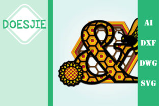 Bee Letter & Sign, Multi Layer Mandala Graphic 3D SVG By doesjie