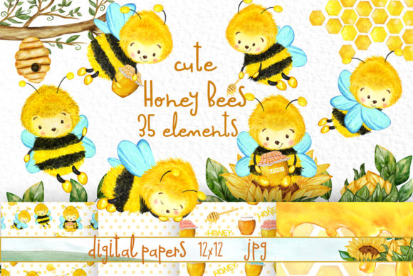 Bees and Honey Clipart Sunflower Clipart Gráfico Ilustraciones Por vivastarkids