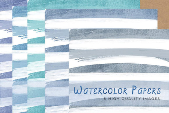 Print on Demand: Blue Watercolour Papers, Clip Art Papers Graphic Illustrations By SunflowerLove