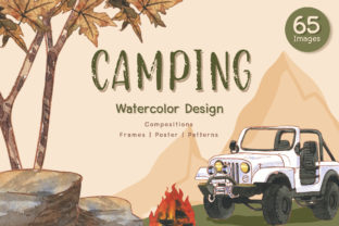 Camping Travel Watercolor Set Graphic Illustrations By WatercolorEps