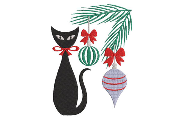 Print on Demand: Christmas with a Cute Black Cat, 2 Sizes Christmas Embroidery Design By Embroidery Shelter