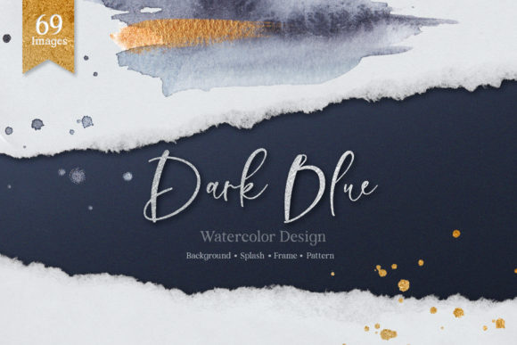 Dark Blue Watercolor Set Graphic Illustrations By WatercolorEps