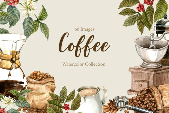 Drip Coffee  Watercolor Set Graphic Illustrations By WatercolorEps